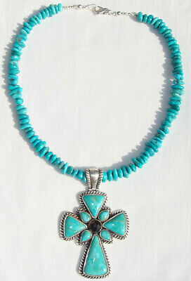 Sleeping Beauty Turquoise Necklace with a Sterling Turquoise Barse Cross Pendant
