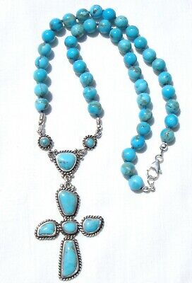 Handmade Kingman Turquoise Necklace with a Vintage Barse Turquoise Cross Pendant