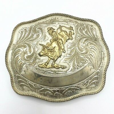 Vintage Western Rodeo Cowboy Silver Belt Buckle From Mexico Signed Rare Huge Old