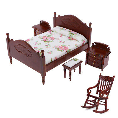 Retro 1/12 Dollhouse Bedroom Furniture - Bed Bedside Cabinet Rocking Chair