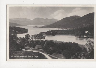 Coniston Lake From Beacon Crags Cumbria 1941 RP Postcard 651a