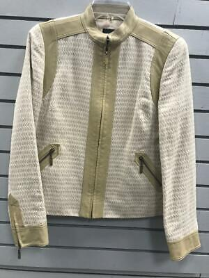 71edabf1bd5c Women's Doncaster Collection Zip Up Jacket Cream With Tan Leather Trim Size  S