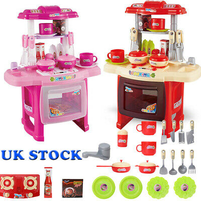 UK Portable Electronic Childrens Kids Kitchen Cooking Girls Toys Cooker Play Set