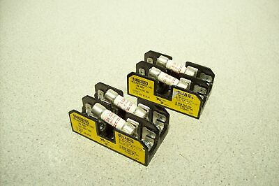 Lot of 4 Bussmann BUSS BM6032SQ 600V 30A Dual Fuse Block with 30A Fuses Works