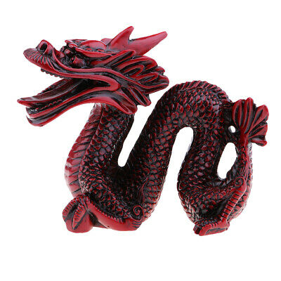 Resin Red Chinese Feng Shui Dragon Figurine Statue for Luck and Success