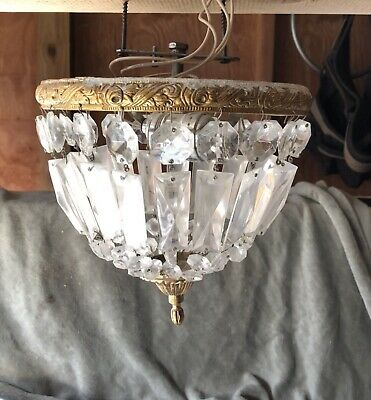 "Antique Vintage~10""Crystal Basket Flush Mount Chandelier~OrIginal"