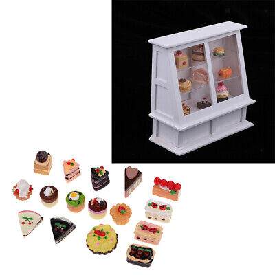 1:12 Dollhouse Cake Cabinet with 25 Pieces Cakes Desserts Kitchen Accessory