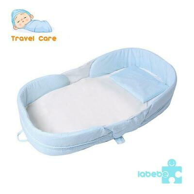Labebe 2-in-1 Toddler Bed Crib, Blue Baby up to 1 Year, Mini Crib...