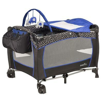 Evenflo Portable Baby Suite Deluxe Hayden Dot, Black, Blue, White