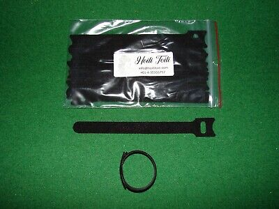 12x Black Hook and Loop Strap Cable Ties Reusable 150 x 12/20 mm