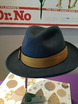 f196d2db NEW PAUL SMITH KENT Hat Blue Fedora Felt Trilby 100% Wool. Size S ...
