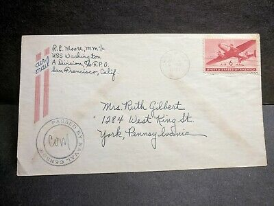 USS WASHINGTON BB-56 Naval Cover 1944 Censored WWII Sailor's Mail