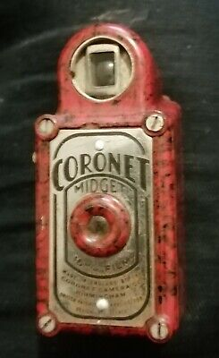 NM RED/BLACK D-ring Coronet MIDGET + Damaged Red Leather Case & Spool