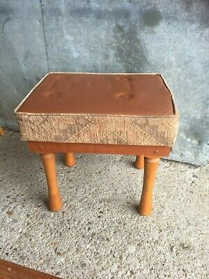 Belfield Dressing Table Small Stool Brown Faux Leather Fabric Wooden Legs Retro