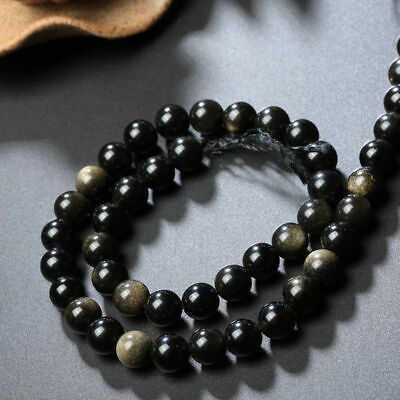"""Natural Stone A grade golden obsidian round beads Necklace 4mm to 18mm 15"""""""