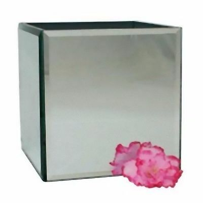 Floristry Mirror Cube Bevelled edge Vase Glass 12cm x 12cm wedding table silvery