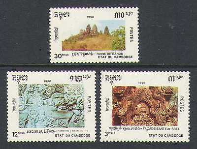 Cambodia 1990 Temple Ruins/Ox Carving/Cattle 3v n21014