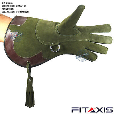 "Falconry Nubuck Leather Eagle Hunting shooting birds hawk Gloves 16"" Long Cuff"