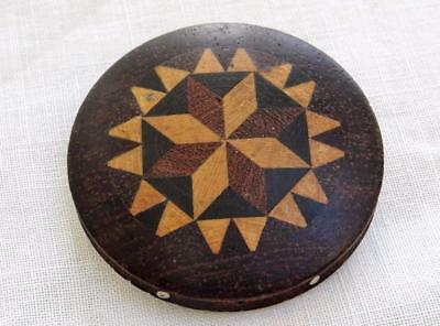 Antique Tunbridge Ware Pin Cushion Inlaid Wood Treen Sewing Wheel Victorian