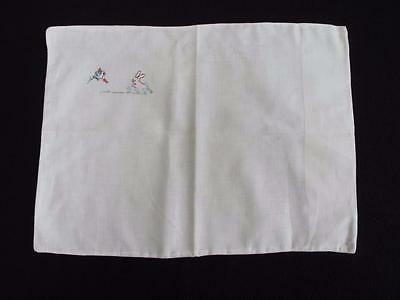 Vintage Babys Pram Pillow Cover Sham 1930s Rabbit & Bird Embroidered Cotton