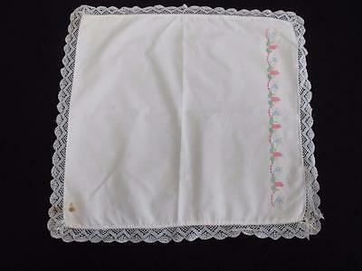 Vintage Babys Pram Pillow Cover Shams 1930s Embroidered Cotton Crochet Lace