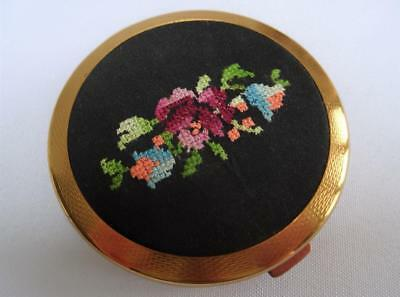Vintage Powder Compact  1950s Gilt Metal Ladies Floral Embroidered Petit Point
