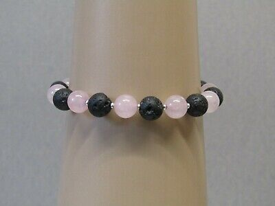Rose Quartz & Black Lava Rock Stunning Beaded Bracelet - Nice!
