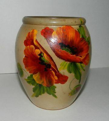HAND PAINTED VASE - POPPIES - 1940's - SIGNED