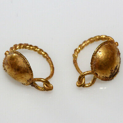 Pair Of Late Roman Early Byzantine Gold Earrings Ca 400-500 Ad