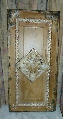 Architectural Salvage  1908  WALL ART  Vintage Tin Metal Ceiling Tile  1900's