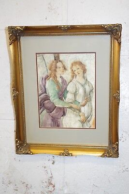 Vintage Gold Gilt Ornate Wood Picture Frame & Print ( Photo Painting )
