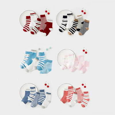 5 Pairs Toddlers Kids Boys Girls Soft Striped Cotton Warm Socks Casual Chic