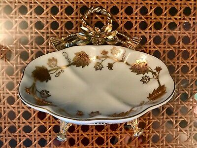 Porcelain Dish Tassel Rope Ormolu Vtg Matson Stylebuilt Soap Cards Keys Holder