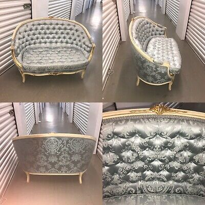 Vintage French Duck Egg Blue Loveseat Parlour Chair Sofa Hollywood Regency