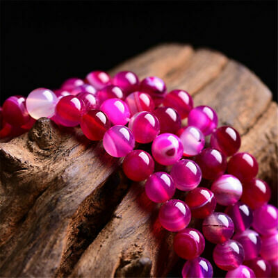 4/6/8/10/12mm Natural Rose Red Stripe Banded Agate Round Gemstone Loose Beads