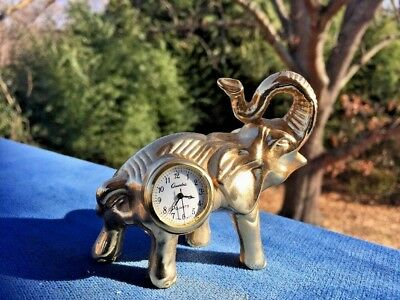 Vintage Chinese Quartz Clock Miniature Desk Shelf Brass Trunk Up ELEPHANT 3/4