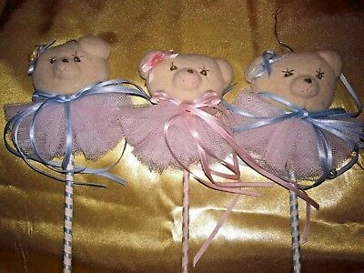 "French Provincial 11"" TEDDY BEAR Barber Pole ART NOUVEAU Ornaments SET of 3 ❤️j8"