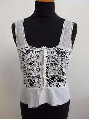 Antique Corset Cover Camisole Edwardian White Cotton Bobbin Lace Ladies c1890
