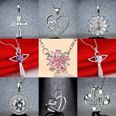 925 Silver Crystal Cross Heart Pendant Necklaces Mother's Day Party Fashion Gift