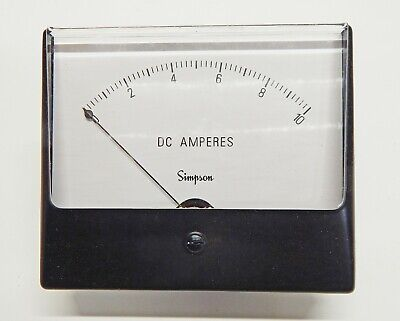 Simpson Electric Wideview Series Analog Panel Meter – DC Ammeter NOS