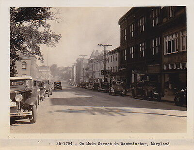 WESTMINSTER MARYLAND Main Street Classic Autos * VINTAGE 1930s ICONIC RARE photo