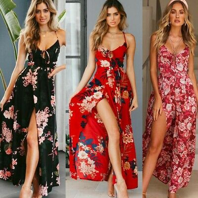 Womens Floral Print Boho Sundress Long Maxi Dress Backless Summer Beach Dresses