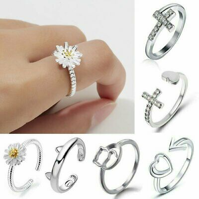925 Silver Hollow Heart Flower Rings Ocean Wave Ring Women Fashion Jewelry Gifts