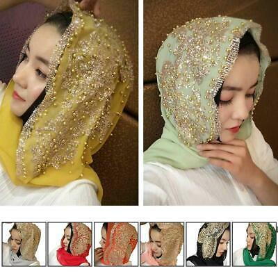 Womens Beaded Headscarves Caps Chiffon Wrap Muslim Headband Turban Hats