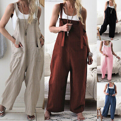 Dungarees Strap Overalls Harem Trouser Women Baggy Casual Rompers Jumpsuit.
