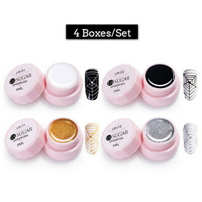 UR SUGAR 4 Boxes 5ml Silver Gold UV Gel Polish Glitter Spider Elastic Nail Gels