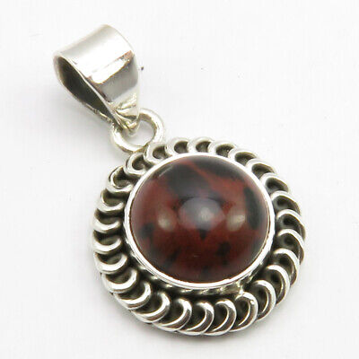 Mahogany Obsidian Antique Look Pendant 925 Pure Sterling Silver Ladies Jewelry