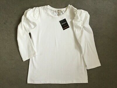 Forever 21 White Long Sleeve T.shirt & Puffed Out Gathered Shoulders-Size S-Bnwt