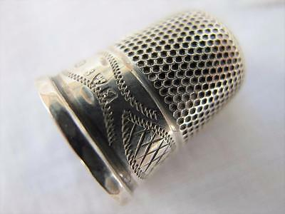 Antique Silver Thimble Edwardian Hallmarked Sterling Engraved Sewing c1907