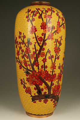 royal Chinese Old Enamels Cloisonne Hand Painting plum blossom swallow vase